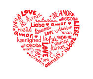 Heart. Red heart of the word love in different languages