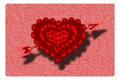 Decorated heart with arrow on background Stock Images