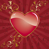 Heart. Glossy heart on ornate background Royalty Free Stock Photography