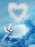 Heart. In the sky with clouds and dove Stock Image