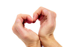 Heart. Man hands forming a heart on a white background royalty free stock photography