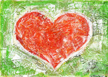 Heart. Shape painted collage background. Made myself Stock Images
