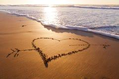 Heart. Heard drawn in the sand on the atlantic coast Stock Photography