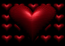 Heart. 3d image of loveheart against small loveheart background Royalty Free Stock Image