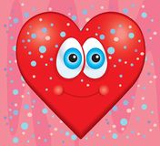 Heart. A red heart smiling in front of a pink background Stock Photo