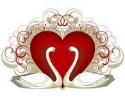 Heart and 2 swans royalty free illustration