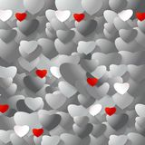 Heart. A lot of silver hearts with few red hearts Stock Photos