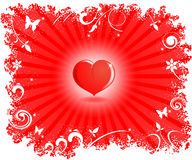 Heart. Red surround the heart, a white frame. Vector illustration Stock Illustration