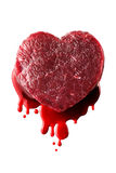 Heart. Beef heart with blood isolated royalty free stock photos