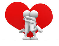 Heart. 3d people - human character, person  and a big heart.  Valentine's day, kiss. 3d render Royalty Free Stock Images