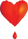 A heart. Illustration with a red heart and a drop of blood royalty free illustration