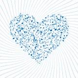 Heart. Made of musical symbols against twirl vector illustration