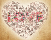 Heart. Word love letters from newspaper Royalty Free Stock Photography