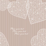 Heart. Greeting pastel card with lace hearts Stock Images