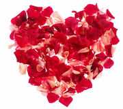 Heart. From red and pink roses petal Royalty Free Stock Photography
