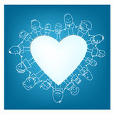 Heart. People standing around a heart hand in hand Stock Images