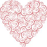 Heart. Tracery red heart on a white background Stock Images