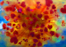 Heart. Background for love with an explosion of heart Stock Image