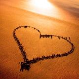 Heart. Heard drawn in the sand on the atlantic coast Stock Photos