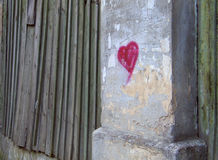 Heart. On wall stock photography