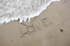 Heart. Draw on beach of Baltic royalty free stock photography