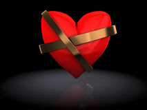 Heart. 3d illustration of red heart repaired over black background Royalty Free Stock Photos