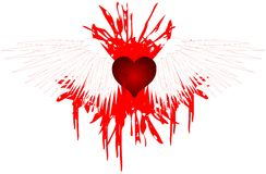 Heart with wings on spot of blood isolated Stock Photo