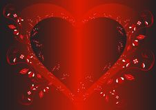 Heart. Romantic heart on red background royalty free illustration