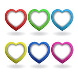 Heart 3d. Multicolored рeart 3d, button,isolation Stock Photos