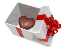 Heart 3d hard chocolate into gift box Stock Photos