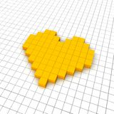 Heart 3d icon in grid Stock Photography