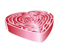Heart 3d Maze. A 3D heart maze in shades of pink. Isolated on white background stock illustration