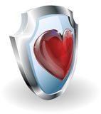 Heart on 3D shield icon. Heart on shield icon. A conceptual illustration, could be used in may different ways e.g. to mean loving or liking something or strength Royalty Free Stock Photography