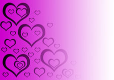 Heart. Gradient background with purple hearts on it Royalty Free Stock Images