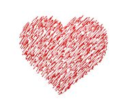 Heart. Written with red ink on white background Royalty Free Stock Photos