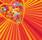 Heart. Floral heart over stripy background Royalty Free Stock Photos