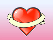 Heart. Valentine heart with ribbon stock illustration