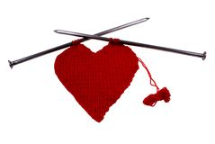 Heart. Woollen heart made on wires isolated on white background Royalty Free Stock Photo