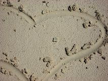 Heart. Drawn in the sand at a beach Stock Images