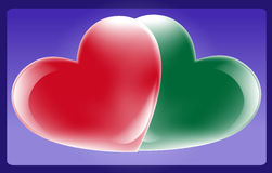 Heart. Red and green heart on a dark blue background. Vector illustration Stock Images