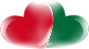 Heart. Red and green heart on a white background. Vector illustration Stock Images