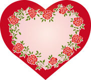 Heart. Lovely heart with roses and leaves, vector illustration. Suits well for a postcard or background Royalty Free Stock Photography