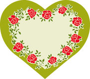 Heart. Valentine abstract background with green heart and red roses Stock Photo
