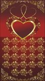 Heart. On a red background with a gold ornament Stock Image