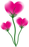 Heart. Three pink heart flower design, vector illustration Stock Images