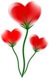 Heart. Three red heart flower design, vector illustration Royalty Free Stock Photo