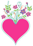 Heart. With the bouquet of flowers Royalty Free Stock Image
