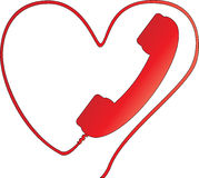 Heart. Phone with wire bent in heart vector illustration