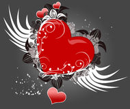 Heart. Red heart with wings like a valentine card royalty free illustration