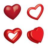 Heart. 4 vector illustrated 3D hearts Stock Photos